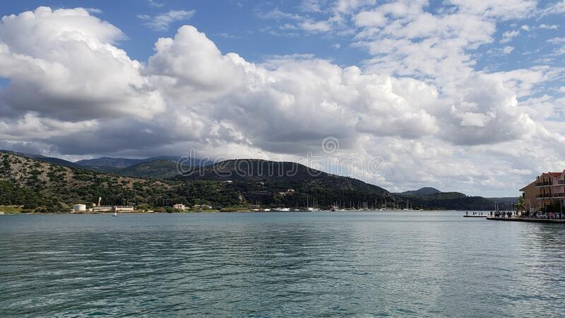 希腊的游轮旅行和海滩旅游 库存照片