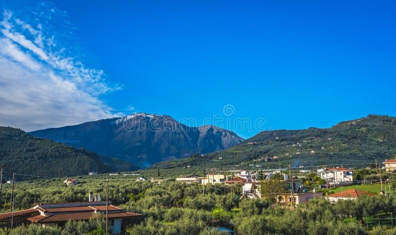 希腊的绿色山风景 库存图片