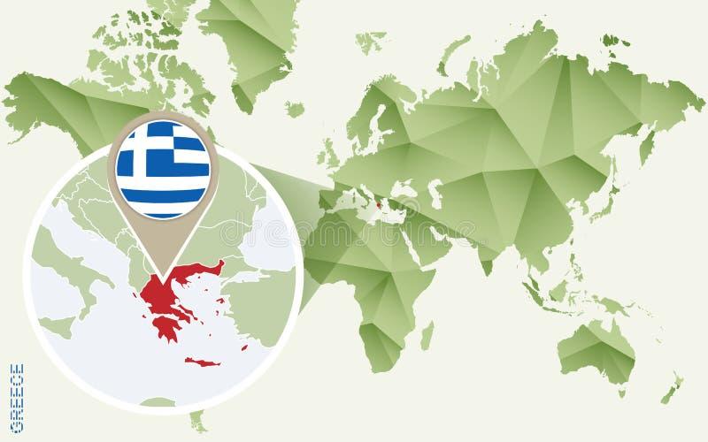 希腊的,希腊的详细的地图Infographic有旗子的 向量例证