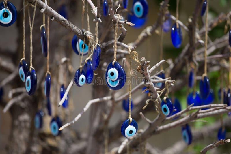 希腊眼睛 传统玻璃工作,土耳其纳扎标志 纳扎boncuu 蓝眼睛罪恶 免版税库存图片