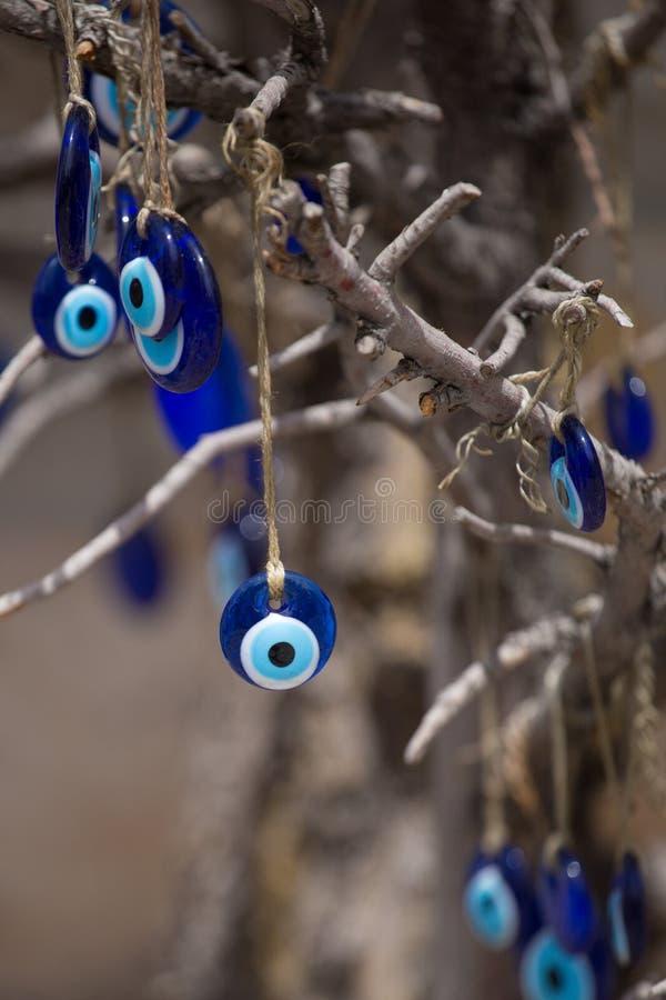 希腊眼睛 传统玻璃工作,土耳其纳扎标志 纳扎boncuu 蓝眼睛罪恶 免版税库存照片