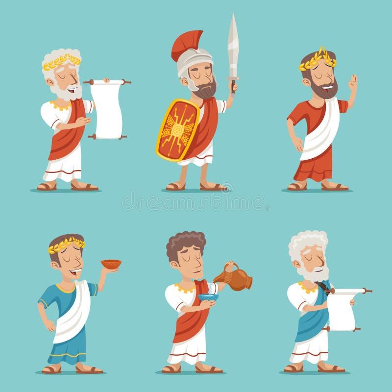 希腊罗马减速火箭的葡萄酒字符象集合动画片设计传染媒介例证 皇族释放例证