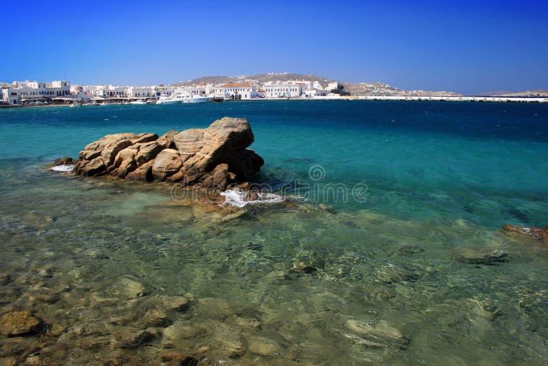 希腊老港口mykonos 库存图片