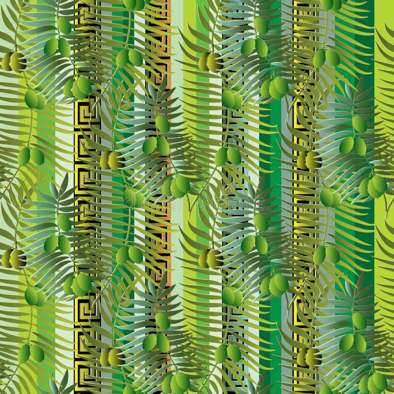 希腊花卉橄榄树枝和叶子3d无缝的样式 库存例证