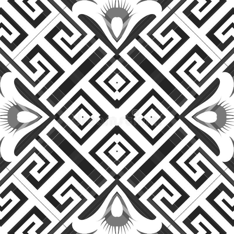 希腊花卉美矢量无缝图案 优雅的装饰性几何背景 Repeat abstract ethnic tribal style 库存例证