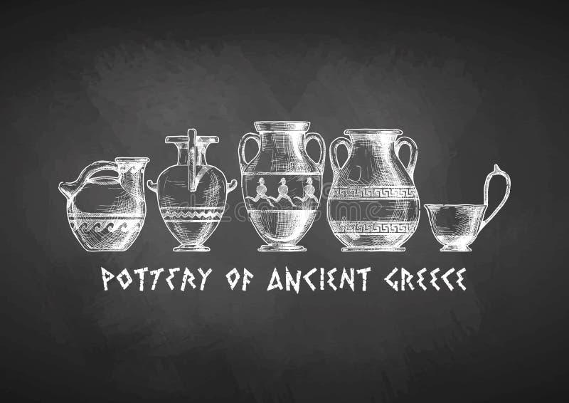 希腊花瓶形状L类形学  向量例证