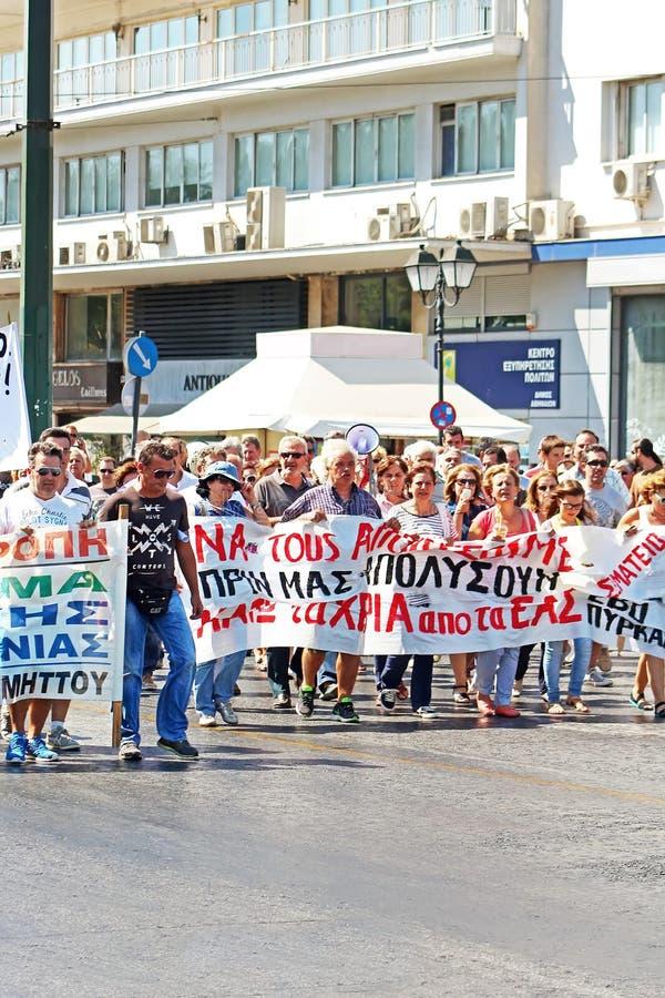 希腊语抗议反对新的严厉措施和失业在雅典 库存照片