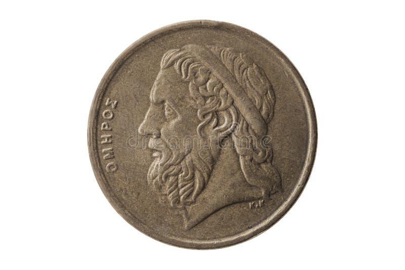 希腊语50德拉克马硬币荷马 图库摄影