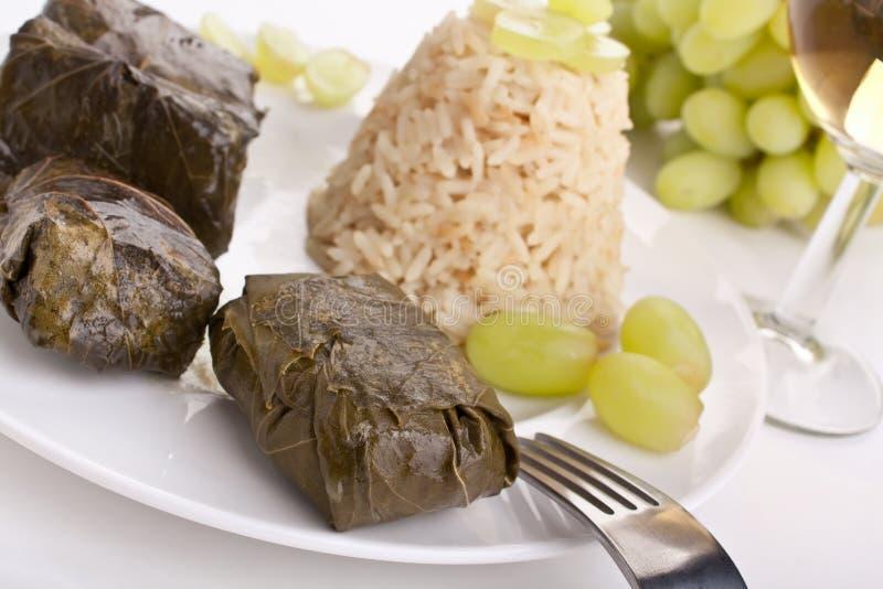 希腊语Dolmades用米和葡萄关闭  库存图片