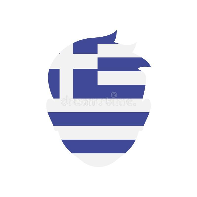 希腊象在白色背景和标志隔绝的传染媒介标志 库存例证