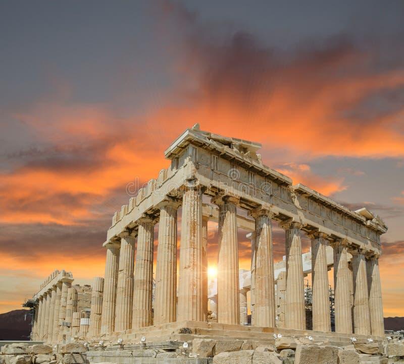希腊雅典帕台农神庙纪念碑日落 库存照片
