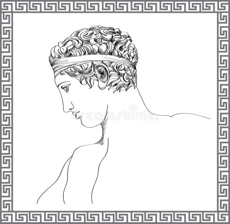 希腊雕塑。传染媒介手拉的剪影。 库存例证
