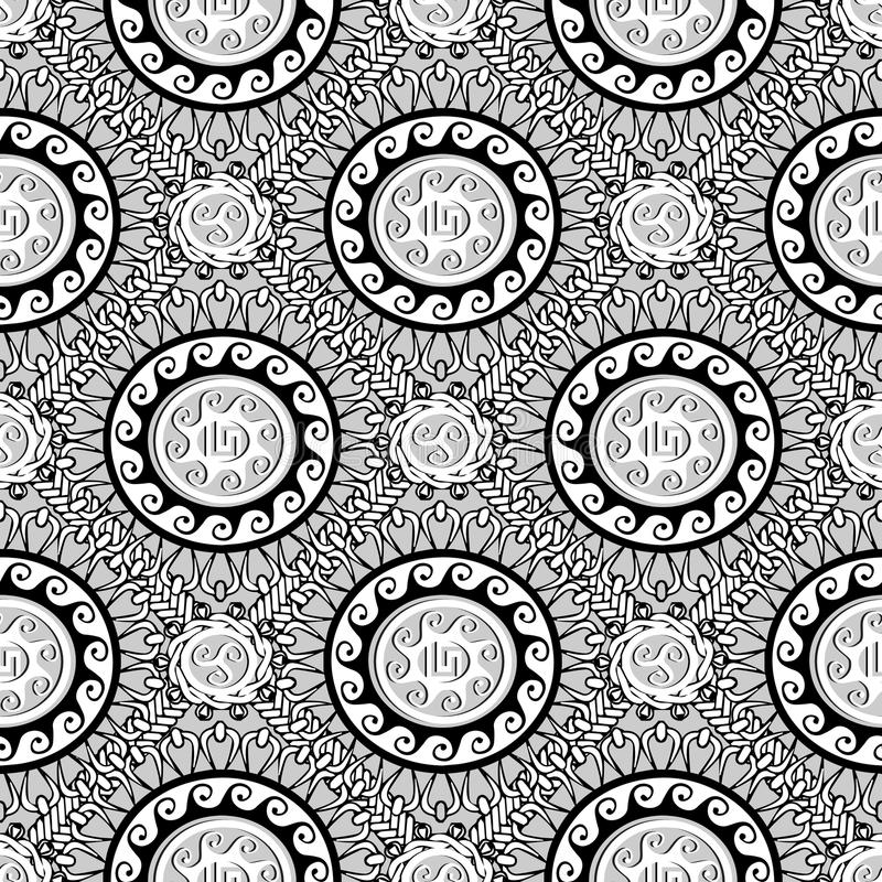 希腊黑白几何无缝的样式 传染媒介Monochr 库存例证