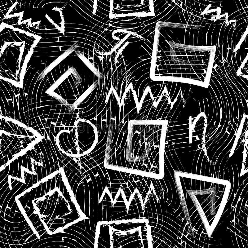 希腊黑白难看的东西无缝的样式 导航脏的波浪线背景 用粉笔写乱画手拉的希腊信件,标志 库存例证