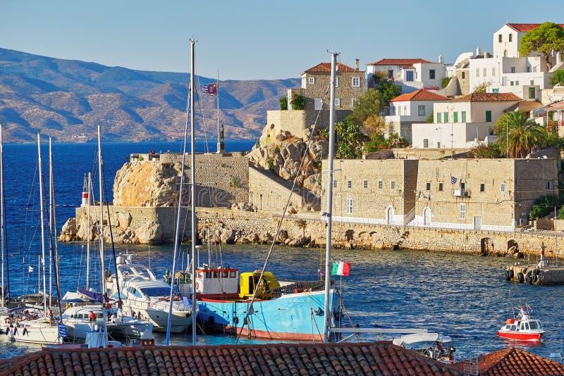 希腊,九头蛇海岛口岸 免版税库存图片