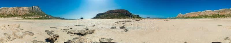 希腊,克利特Balos从底部的海滩全景 免版税库存照片