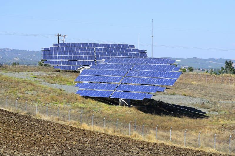 希腊,太阳能集热器 免版税图库摄影