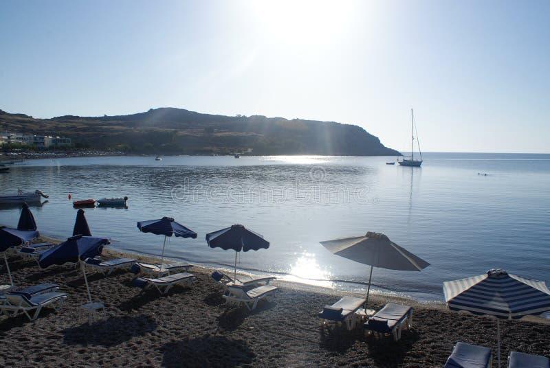 希腊,罗得岛海岛  在Haraki村庄的海湾  库存图片