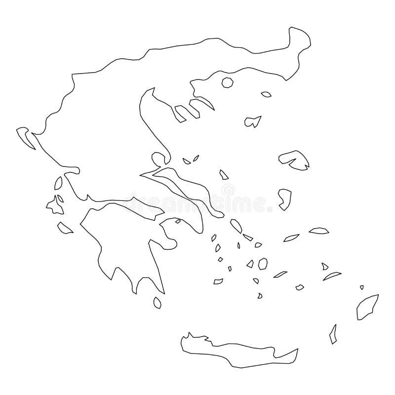 希腊-国家区域坚实黑概述边界地图  简单的平的传染媒介例证 库存例证