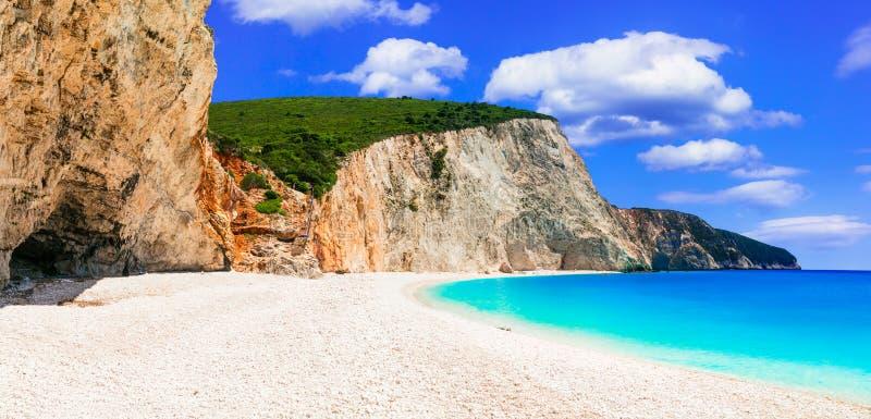 希腊 多数美丽的海滩 波尔图Katsiki在莱夫卡斯州海岛 库存图片