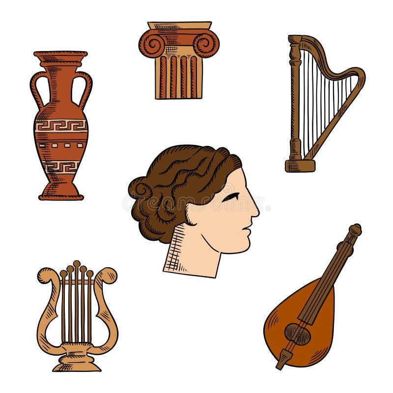 希腊建筑学、音乐和艺术象 库存例证