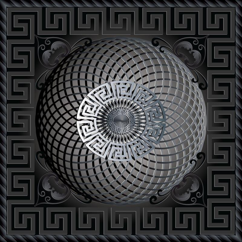 希腊3d正方形盘区样式 现代深黑色传染媒介backgrou 皇族释放例证