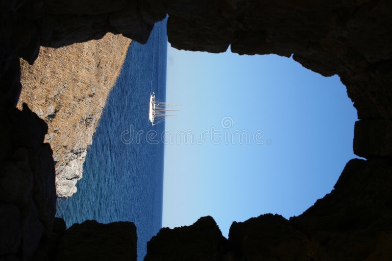 希腊monemvassia peloponnese 免版税库存照片