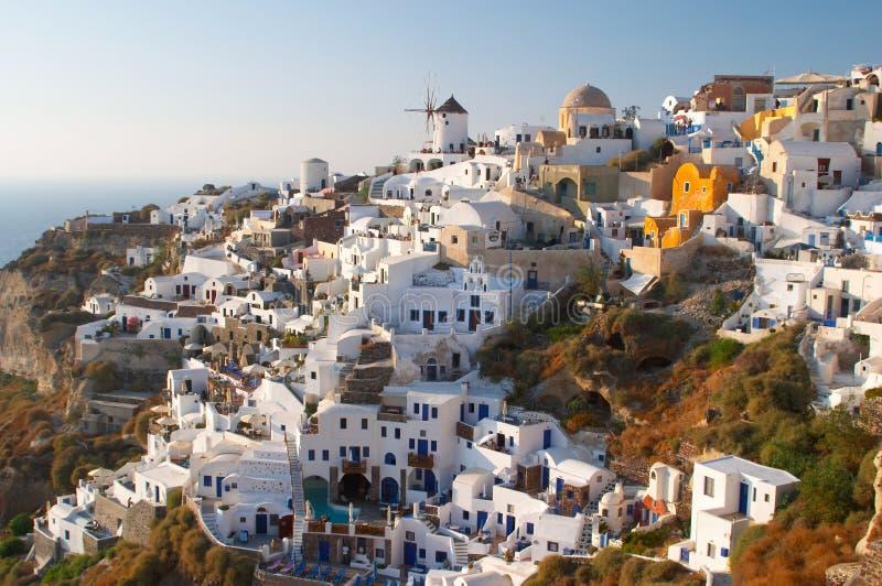 希腊oia传统村庄 图库摄影