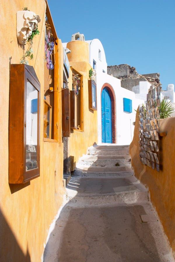 希腊oia santorini街道 图库摄影