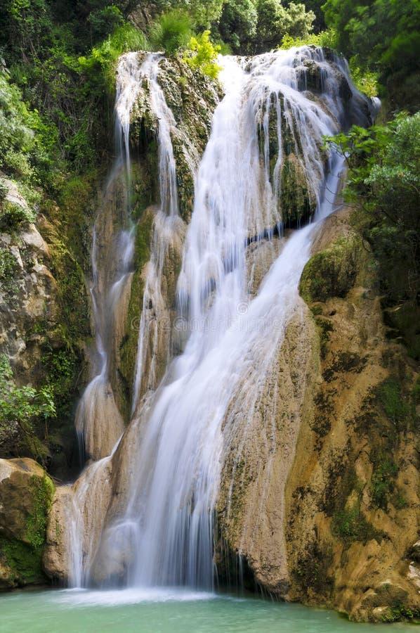 希腊peloponnese polilimnio瀑布 库存图片