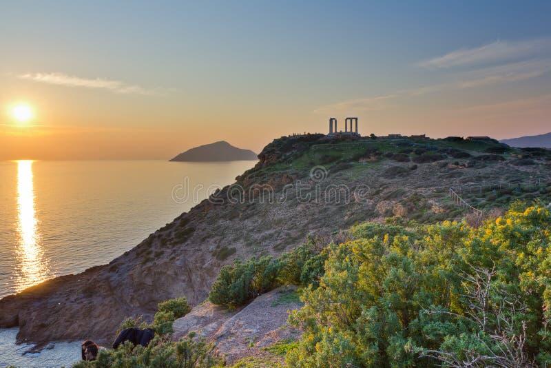 希腊poseidon sounio寺庙 图库摄影