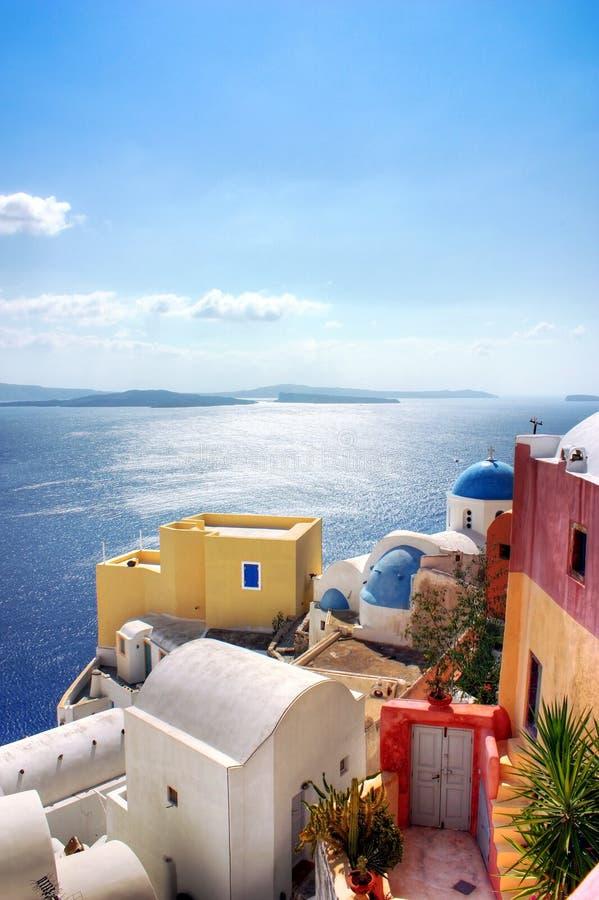 希腊santorini海运视图 库存照片