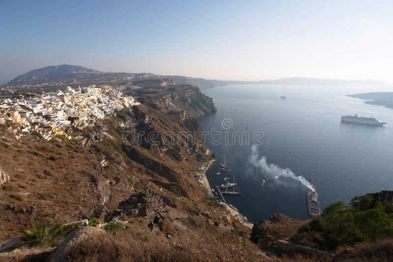 希腊santorini thira 免版税库存图片