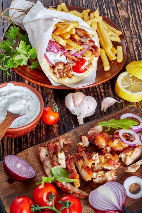 希腊souvlaki,皮塔饼ma电罗经,顶视图 免版税库存图片