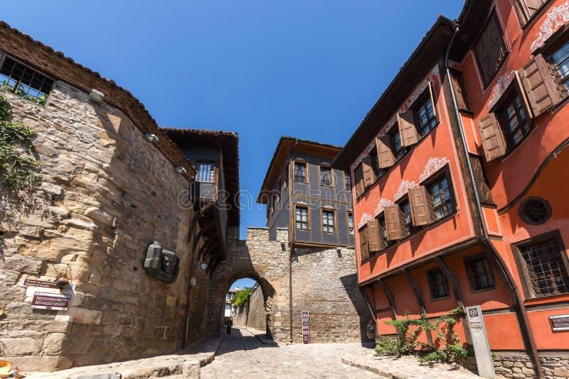 希萨尔Kapia -古老门在普罗夫迪夫老镇,保加利亚 库存照片
