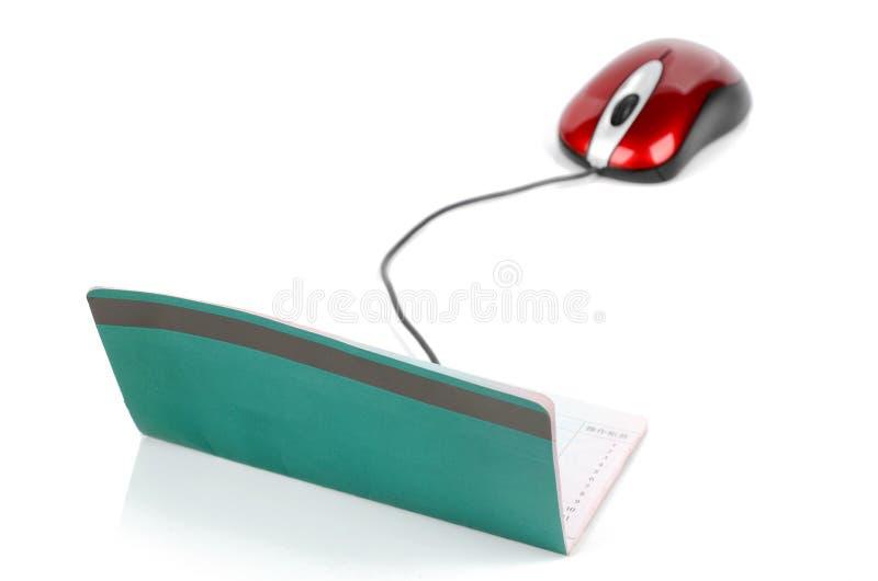 帐户计算机鼠标存款簿 免版税图库摄影