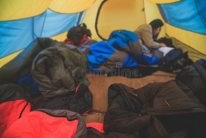 帐篷、过程的野营在秋天或春天森林领域里面看法,设置帐篷被盖 免版税库存照片