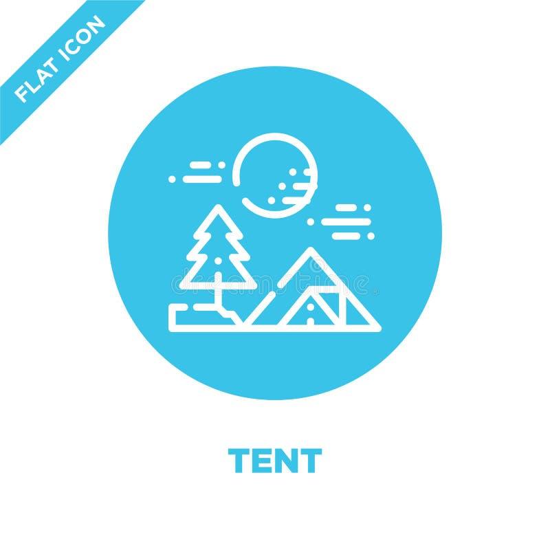 帐篷从野营的收藏的象传染媒介 稀薄的线帐篷概述象传染媒介例证 线性标志为在网的使用和 皇族释放例证