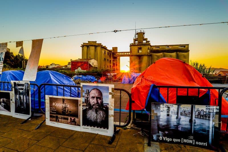 帐篷和工厂-比戈 库存图片