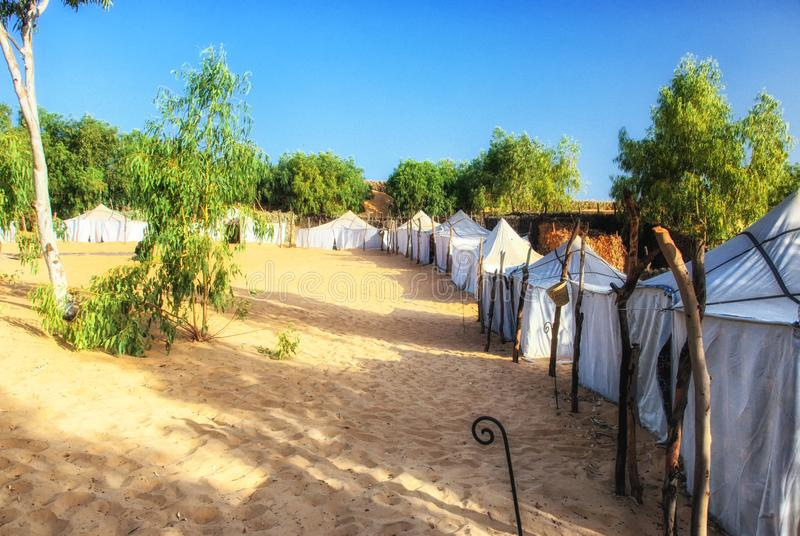 帐篷在撒哈拉大沙漠在塞内加尔,非洲 图库摄影