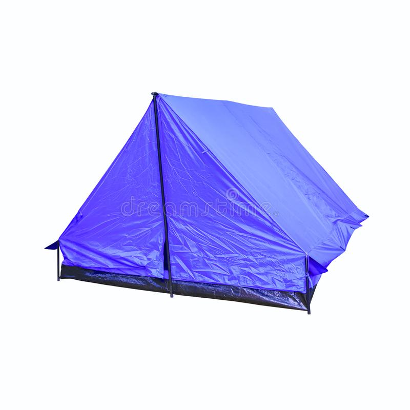 帐篷帆布蓝色适应野营在白色背景放松 库存照片