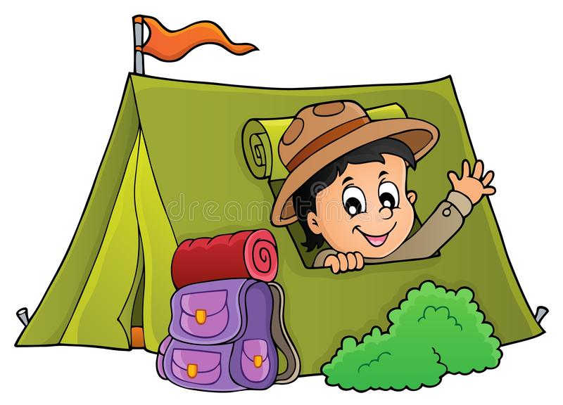 帐篷题材图象的1侦察员 皇族释放例证