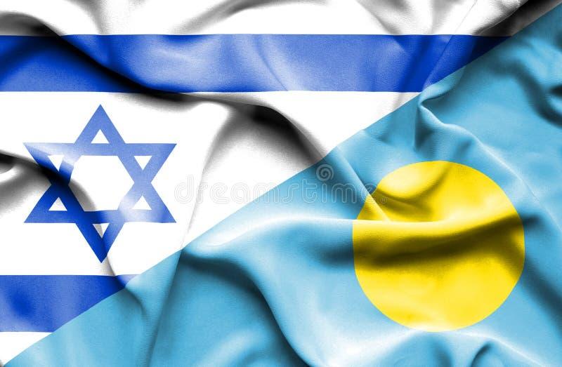 帕劳和以色列的挥动的旗子 库存例证