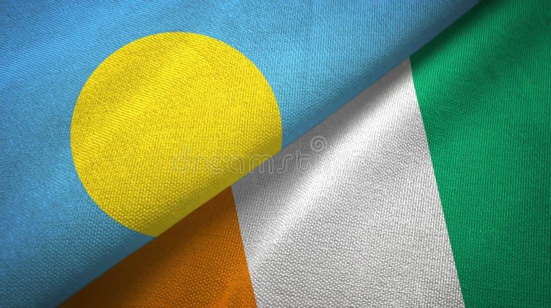 帕劳和科特迪瓦象牙海岸两旗子织物纹理 库存例证