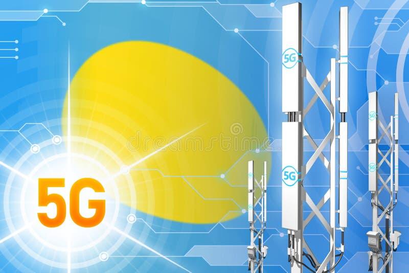 帕劳5G工业例证、大多孔的网络帆柱或者塔在高科技背景与旗子- 3D例证 向量例证