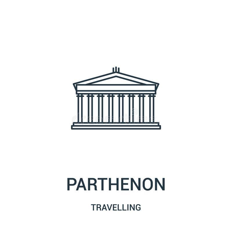 帕台农神庙从旅行的收藏的象传染媒介 稀薄的线帕台农神庙概述象传染媒介例证 r 库存例证