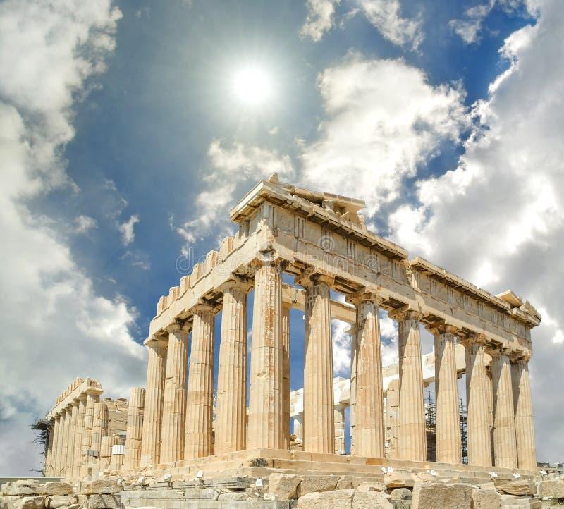 帕台农神庙天空太阳clounds希腊 库存照片