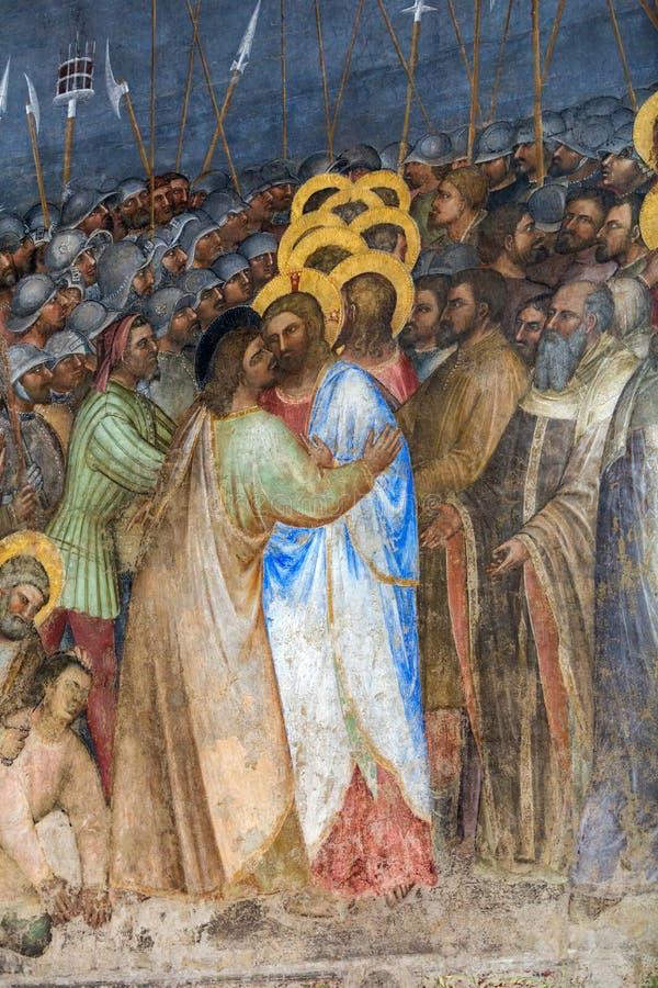 帕多瓦-在中央寺院或圣玛丽亚Assunta大教堂洗礼池的壁画Judas亲吻Giusto de Menabuoi 库存照片