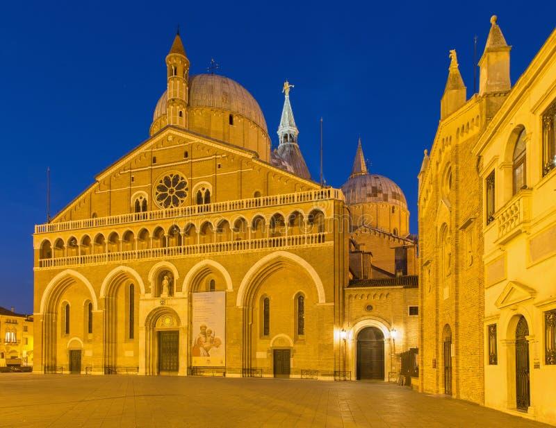 帕多瓦-帕多瓦和圣乐圣Girgio圣安东尼Basilica del Santo或大教堂  库存图片