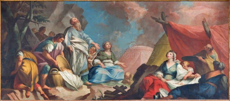 帕多瓦- stcene油漆-摩西和以色列人会集精神食粮形式16 分 由未知的画家在大教堂里 库存照片
